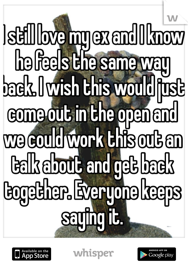 I still love my ex and I know he feels the same way back. I wish this would just come out in the open and we could work this out an talk about and get back together. Everyone keeps saying it.