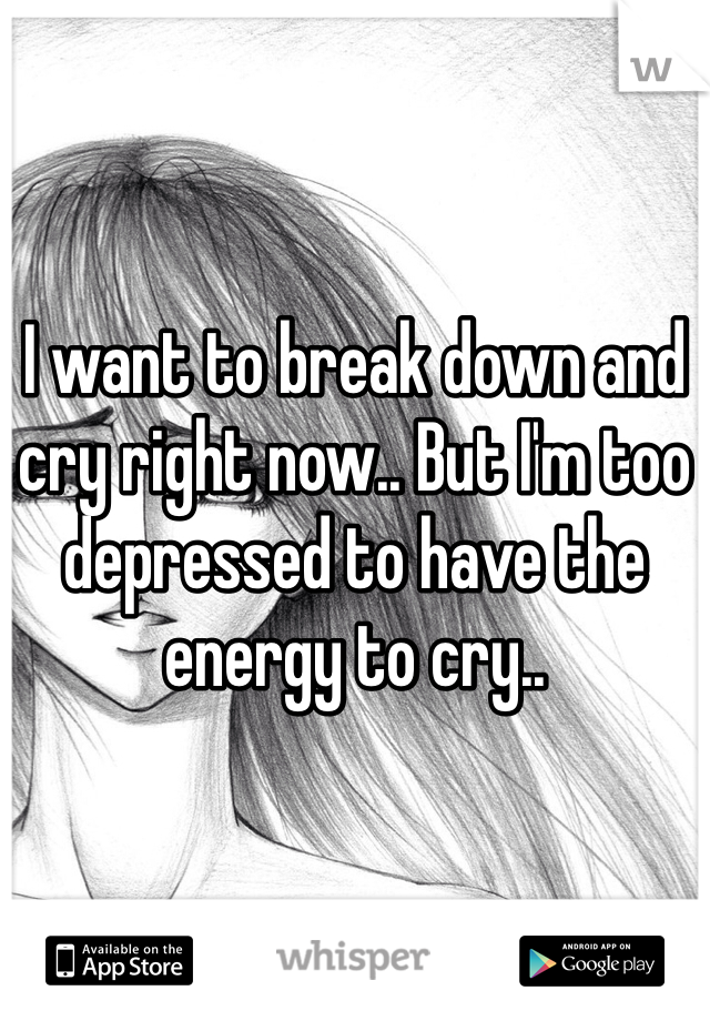 I want to break down and cry right now.. But I'm too depressed to have the energy to cry..