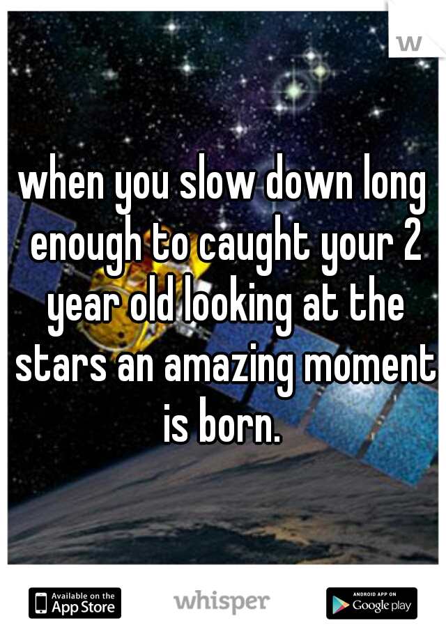 when you slow down long enough to caught your 2 year old looking at the stars an amazing moment is born.