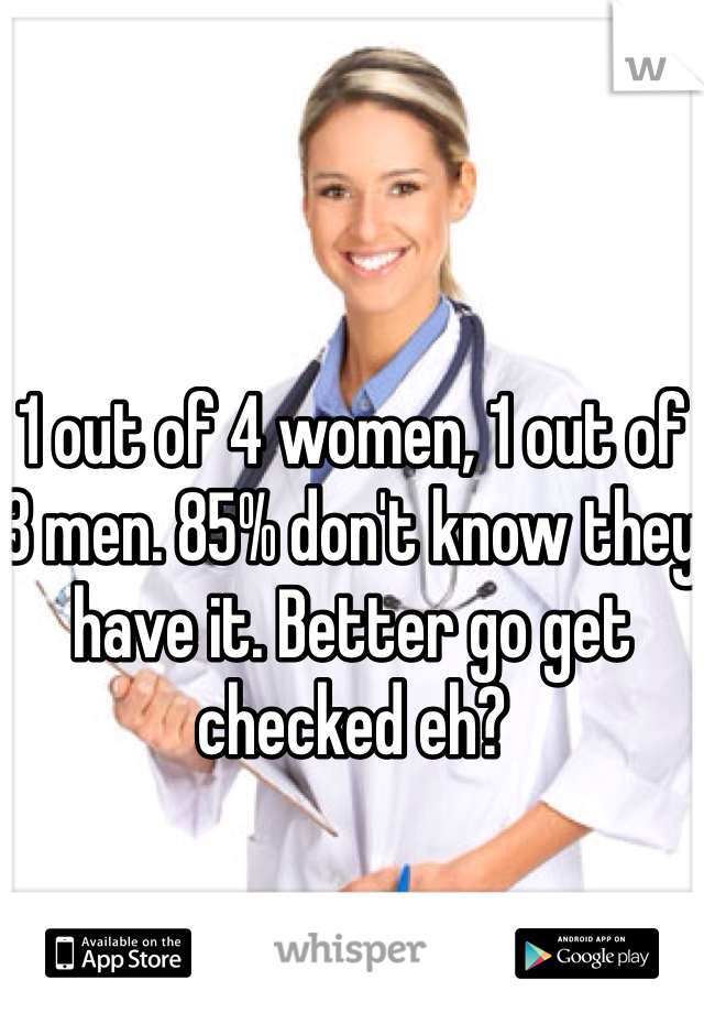 1 out of 4 women, 1 out of 3 men. 85% don't know they have it. Better go get checked eh?