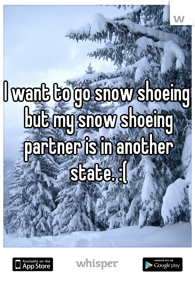 I want to go snow shoeing but my snow shoeing partner is in another state. :(