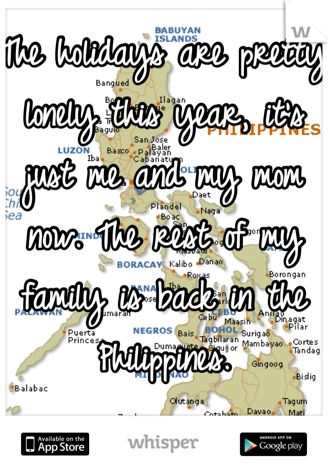The holidays are pretty lonely this year, it's just me and my mom now. The rest of my family is back in the Philippines.