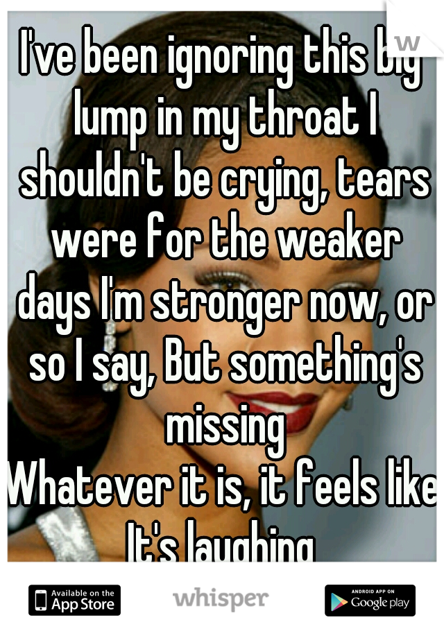 I've been ignoring this big lump in my throat I shouldn't be crying, tears were for the weaker days I'm stronger now, or so I say, But something's missing  Whatever it is, it feels like It's laughing