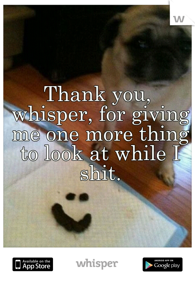 Thank you, whisper, for giving me one more thing to look at while I shit.