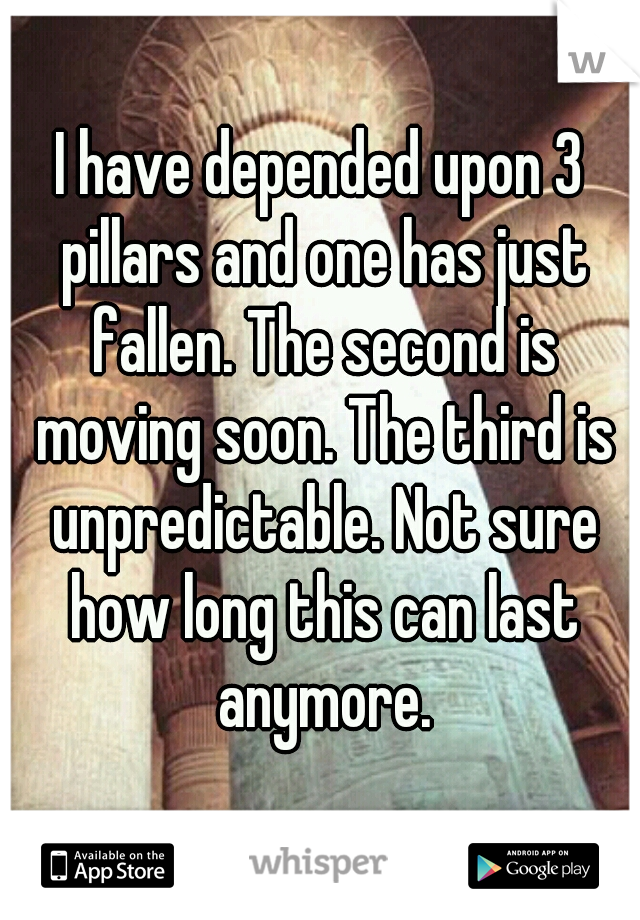 I have depended upon 3 pillars and one has just fallen. The second is moving soon. The third is unpredictable. Not sure how long this can last anymore.