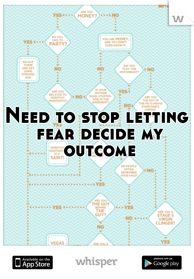 Need to stop letting fear decide my outcome