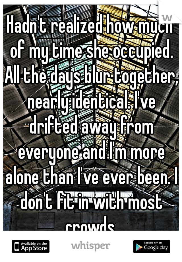 Hadn't realized how much of my time she occupied. All the days blur together, nearly identical. I've drifted away from everyone and I'm more alone than I've ever been. I don't fit in with most crowds.
