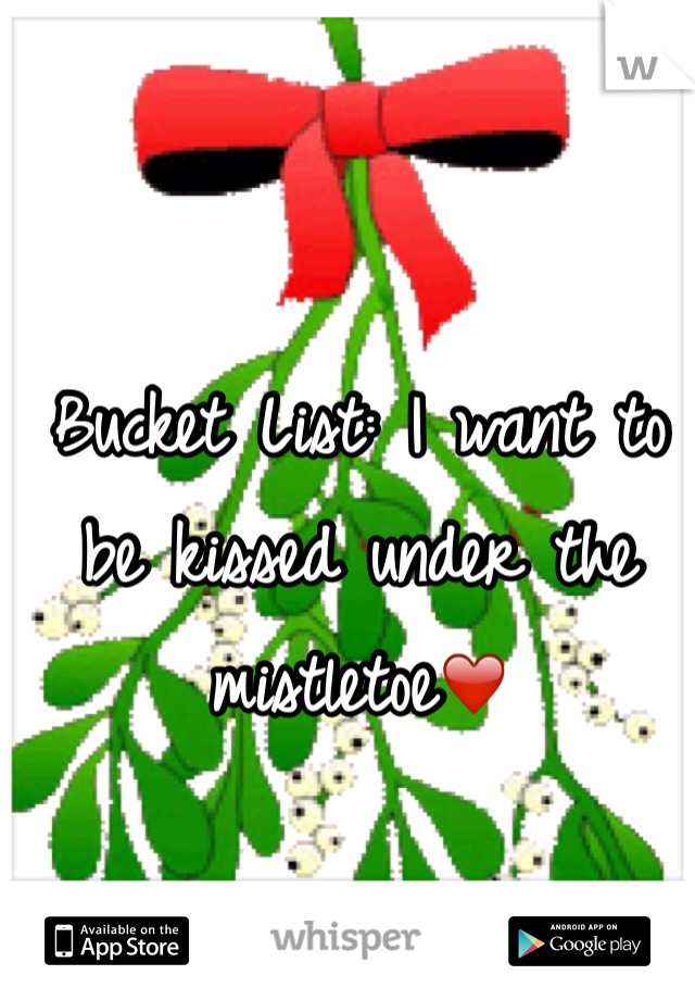 Bucket List: I want to be kissed under the mistletoe❤️
