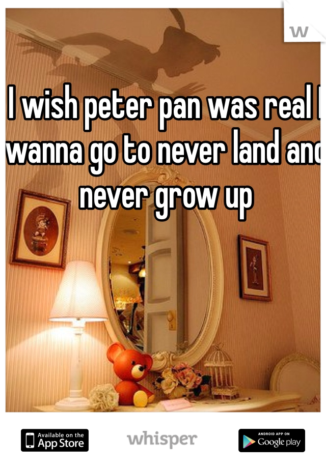 I wish peter pan was real I wanna go to never land and never grow up