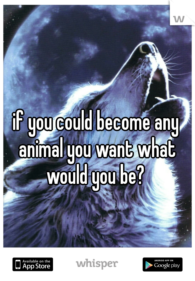 if you could become any animal you want what would you be?