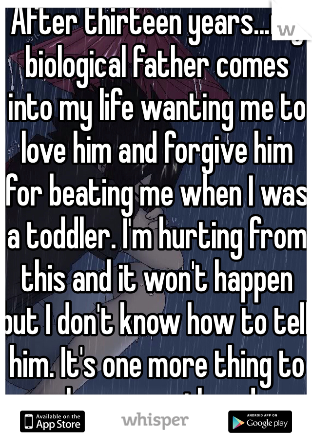After thirteen years...my biological father comes into my life wanting me to love him and forgive him for beating me when I was a toddler. I'm hurting from this and it won't happen but I don't know how to tell him. It's one more thing to push me over the edge.