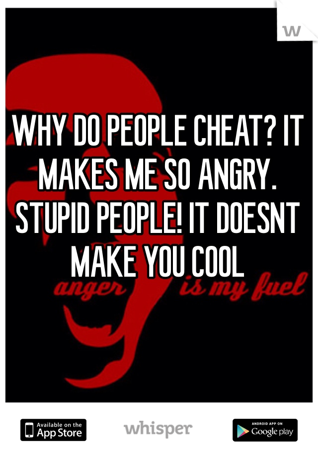 WHY DO PEOPLE CHEAT? IT MAKES ME SO ANGRY. STUPID PEOPLE! IT DOESNT MAKE YOU COOL