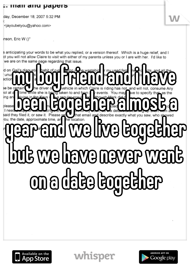 my boyfriend and i have been together almost a year and we live together but we have never went on a date together