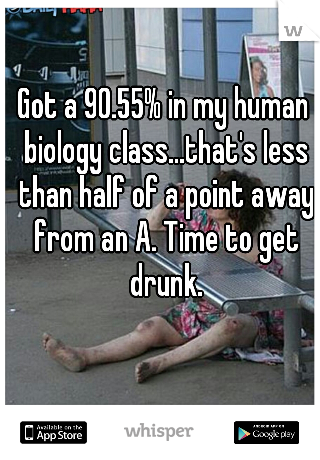 Got a 90.55% in my human biology class...that's less than half of a point away from an A. Time to get drunk.