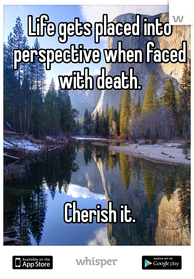Life gets placed into perspective when faced with death.      Cherish it.