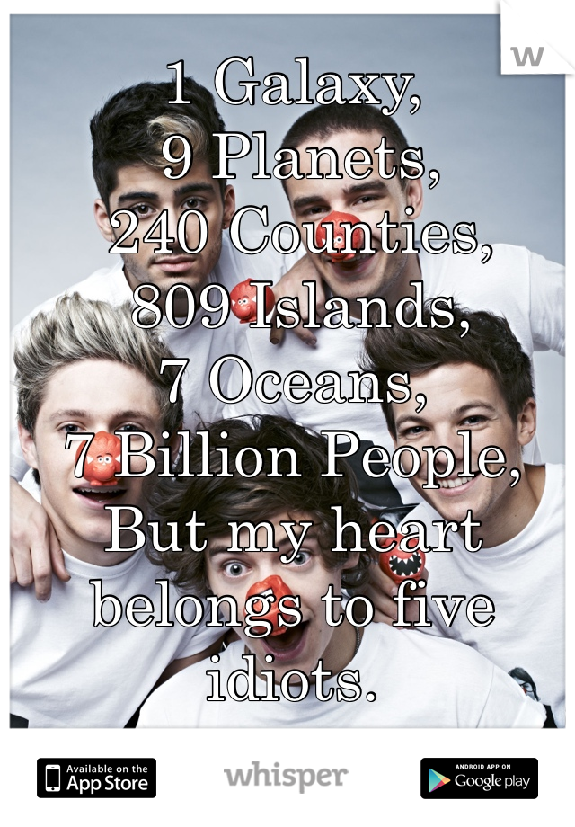 1 Galaxy,  9 Planets,  240 Counties,  809 Islands,  7 Oceans,  7 Billion People,  But my heart belongs to five idiots.