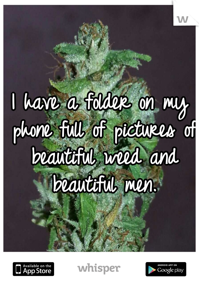 I have a folder on my phone full of pictures of beautiful weed and beautiful men.