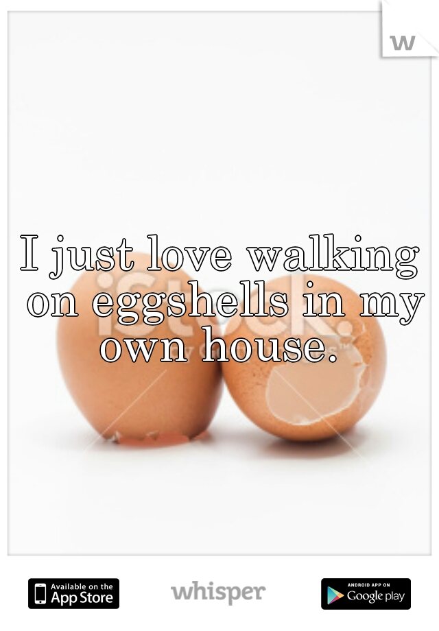 I just love walking on eggshells in my own house.