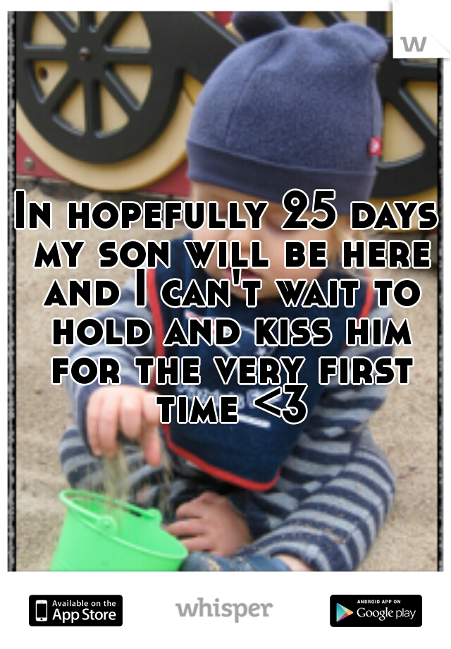 In hopefully 25 days my son will be here and I can't wait to hold and kiss him for the very first time <3