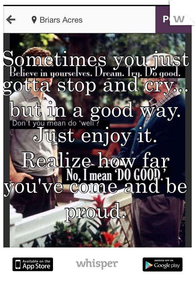 Sometimes you just gotta stop and cry... but in a good way. Just enjoy it. Realize how far you've come and be proud.