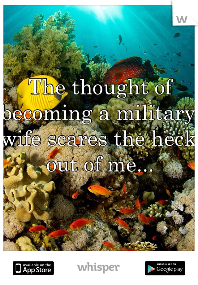 The thought of becoming a military wife scares the heck out of me...