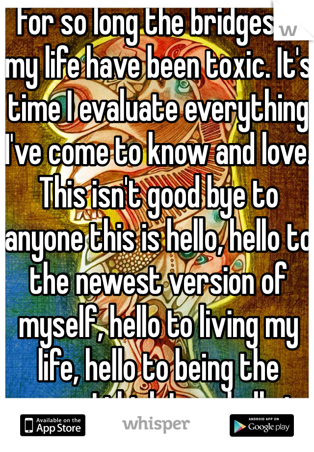 For so long the bridges in my life have been toxic. It's time I evaluate everything I've come to know and love. This isn't good bye to anyone this is hello, hello to the newest version of myself, hello to living my life, hello to being the person I think I am, hello to embracing myself. This will be the most painful journey I've ever taken but it's time I actually take the first step. Why post this on social networking? It makes me accountable to more than just myself.