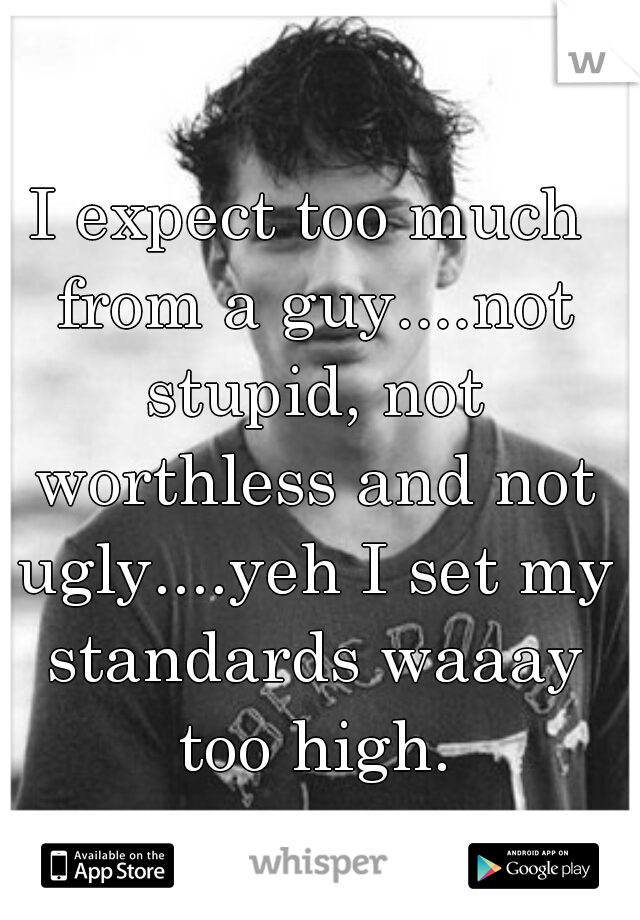 I expect too much from a guy....not stupid, not worthless and not ugly....yeh I set my standards waaay too high.