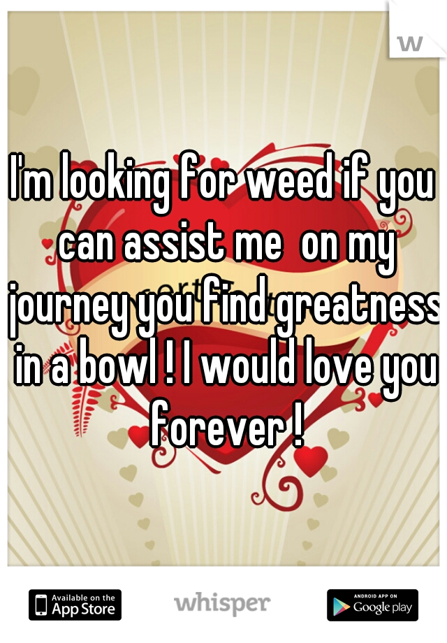 I'm looking for weed if you can assist me  on my journey you find greatness in a bowl ! I would love you forever !