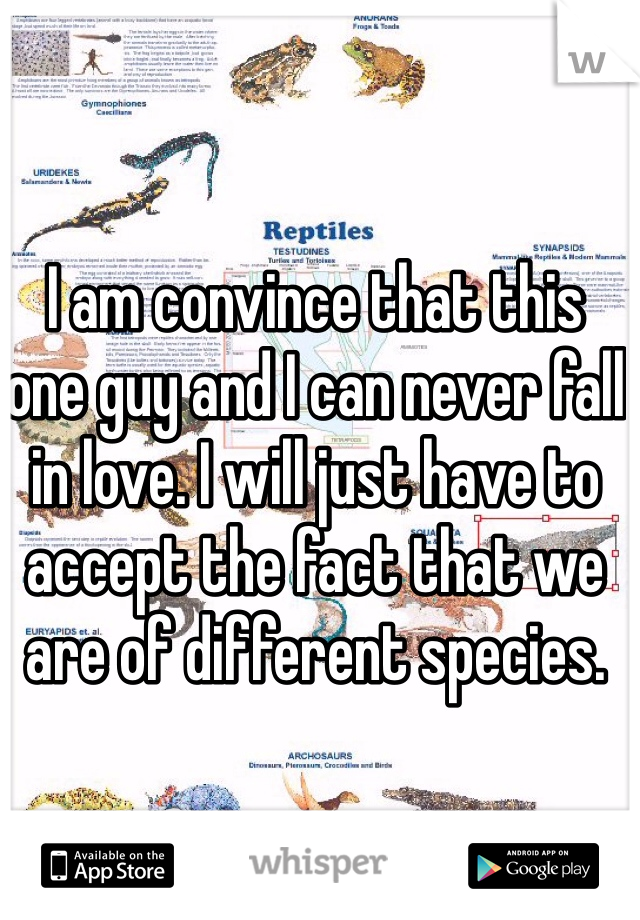 I am convince that this one guy and I can never fall in love. I will just have to accept the fact that we are of different species.