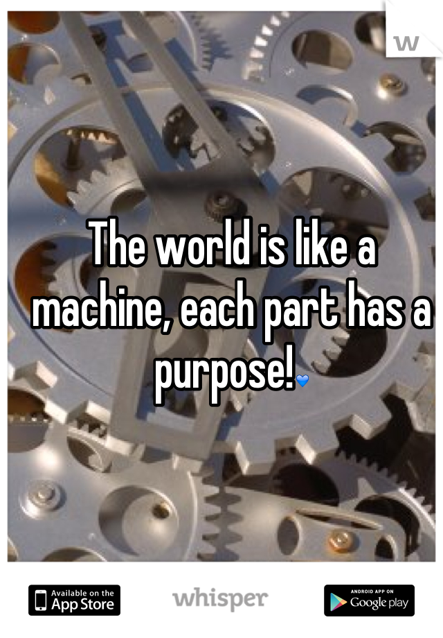 The world is like a machine, each part has a purpose!💙