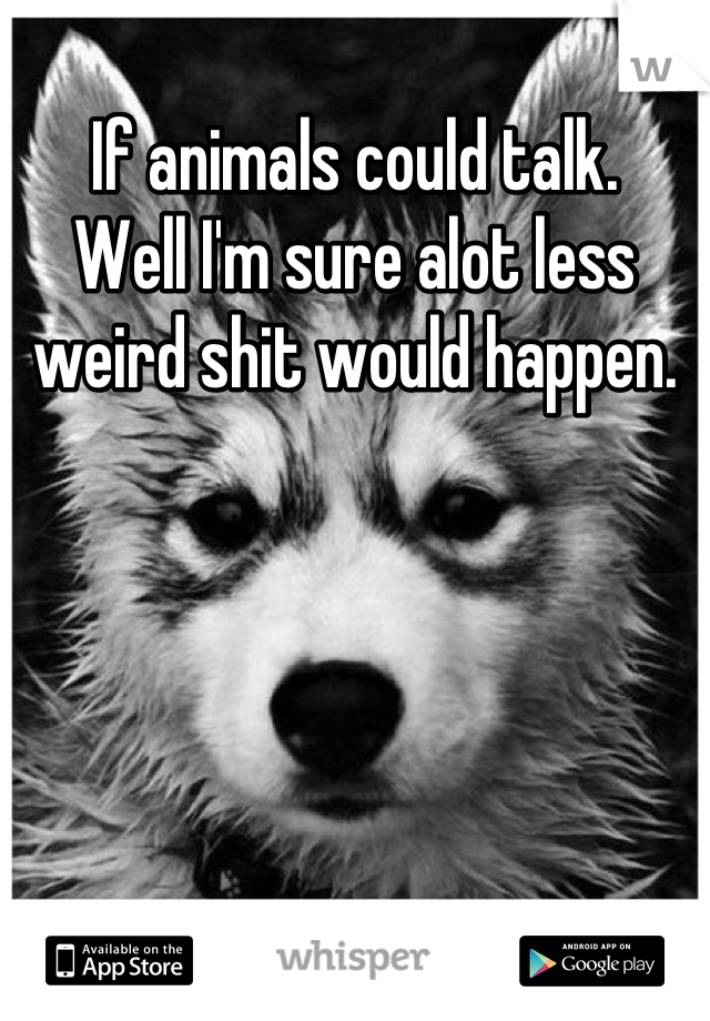 If animals could talk. Well I'm sure alot less weird shit would happen.