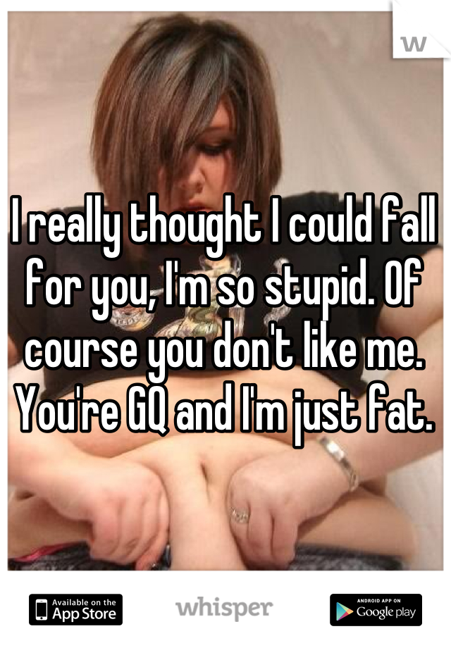 I really thought I could fall for you, I'm so stupid. Of course you don't like me. You're GQ and I'm just fat.