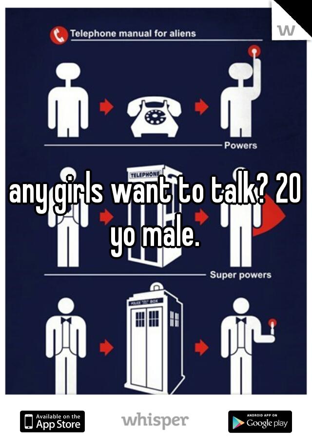 any girls want to talk? 20 yo male.
