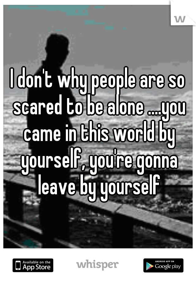 I don't why people are so scared to be alone ....you came in this world by yourself, you're gonna leave by yourself