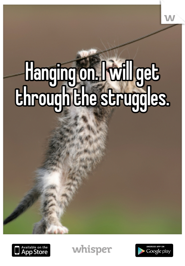 Hanging on. I will get through the struggles.