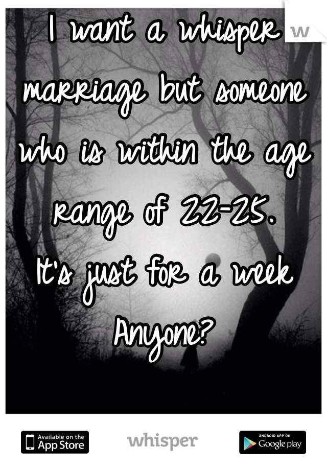 I want a whisper marriage but someone who is within the age range of 22-25.  It's just for a week  Anyone?