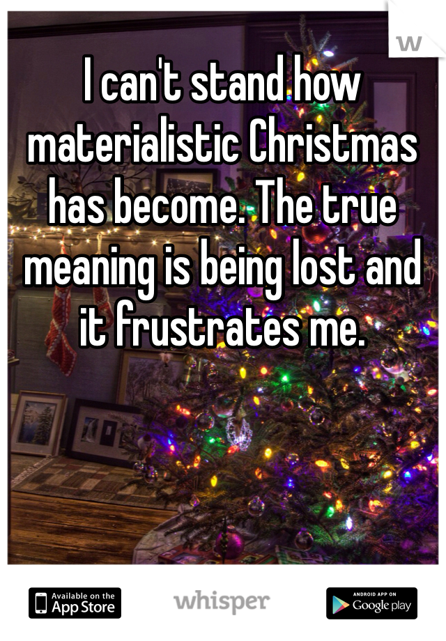 I can't stand how materialistic Christmas has become. The true meaning is being lost and it frustrates me.