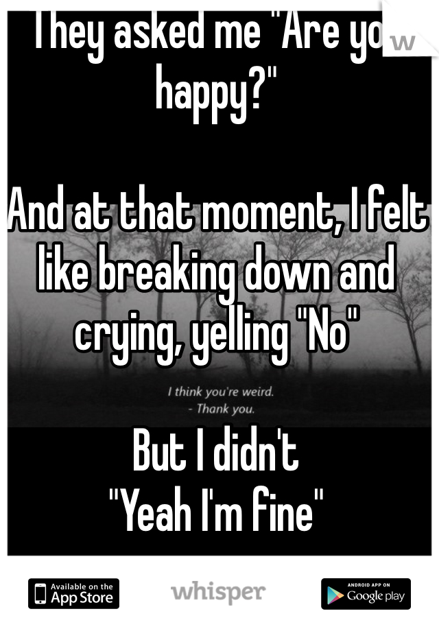 """They asked me """"Are you happy?""""  And at that moment, I felt like breaking down and crying, yelling """"No""""  But I didn't """"Yeah I'm fine"""""""