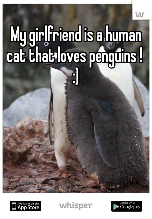 My girlfriend is a human cat that loves penguins !  :)