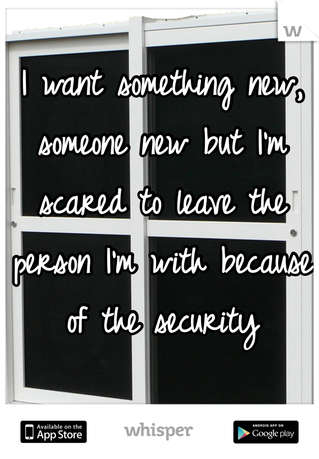 I want something new, someone new but I'm scared to leave the person I'm with because of the security