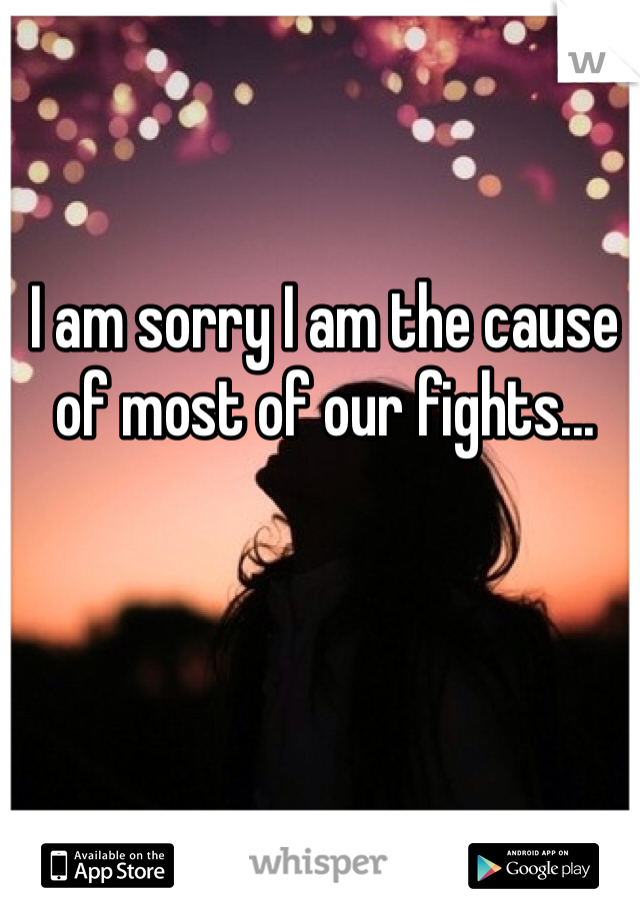 I am sorry I am the cause of most of our fights...