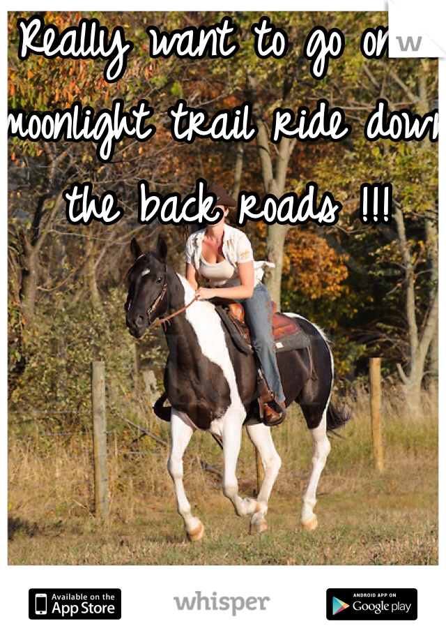 Really want to go on a moonlight trail ride down the back roads !!!