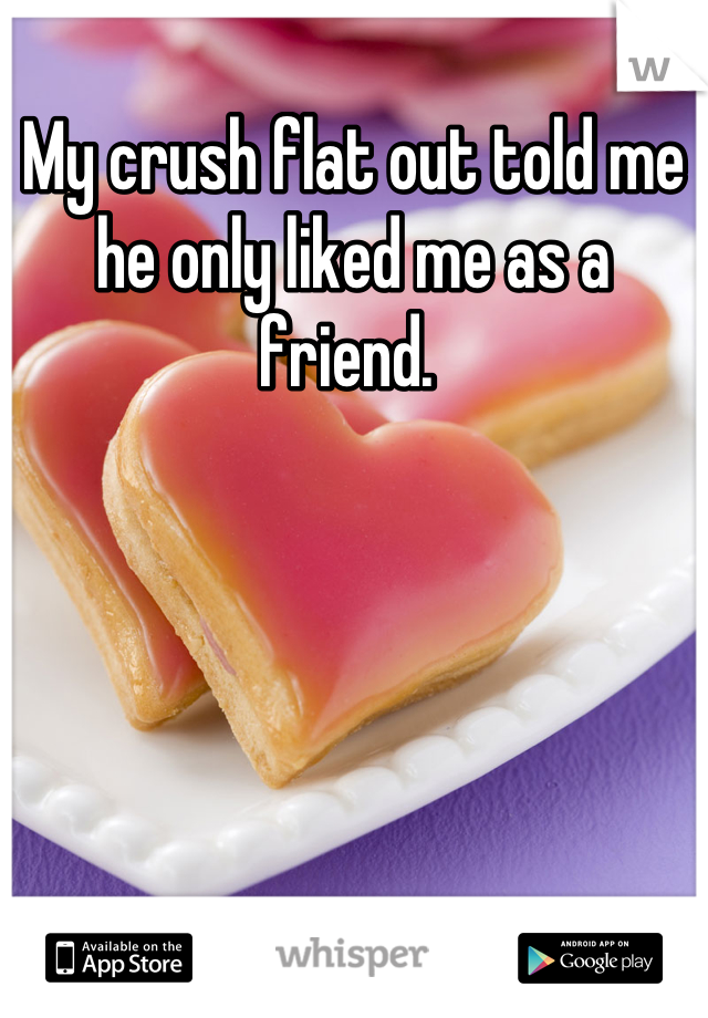 My crush flat out told me he only liked me as a friend.