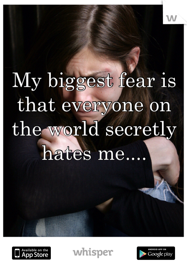 My biggest fear is that everyone on the world secretly hates me....