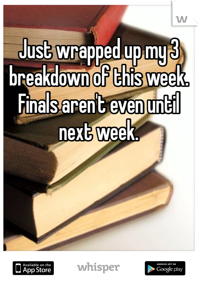 Just wrapped up my 3 breakdown of this week. Finals aren't even until next week.