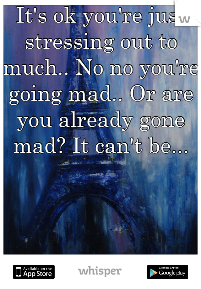 It's ok you're just stressing out to much.. No no you're going mad.. Or are you already gone mad? It can't be...