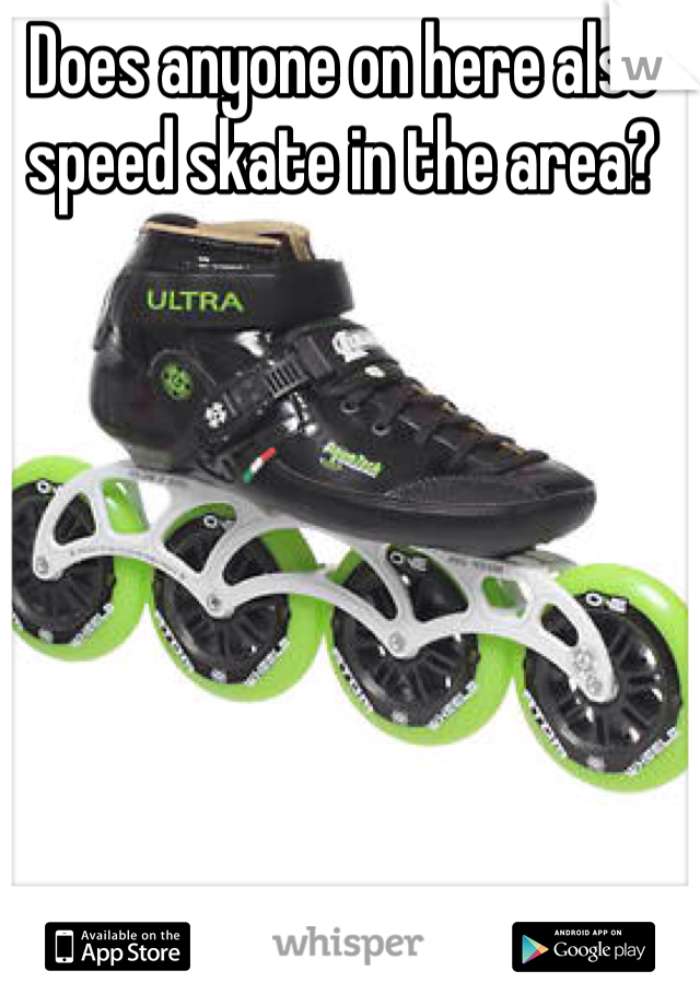 Does anyone on here also speed skate in the area?