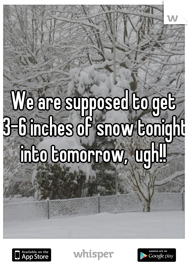 We are supposed to get 3-6 inches of snow tonight into tomorrow,  ugh!!