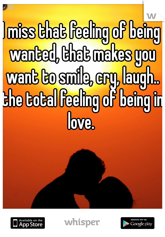 I miss that feeling of being wanted, that makes you want to smile, cry, laugh.. the total feeling of being in love.