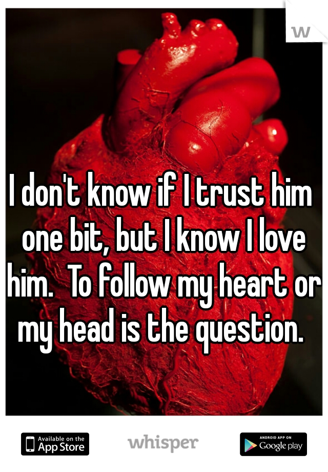 I don't know if I trust him one bit, but I know I love him.  To follow my heart or my head is the question.